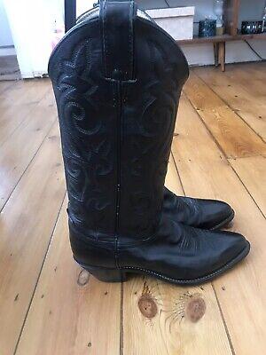 Vintage JUSTIN Genuine Black Leather Western Cowboy Boots Uk 4.5