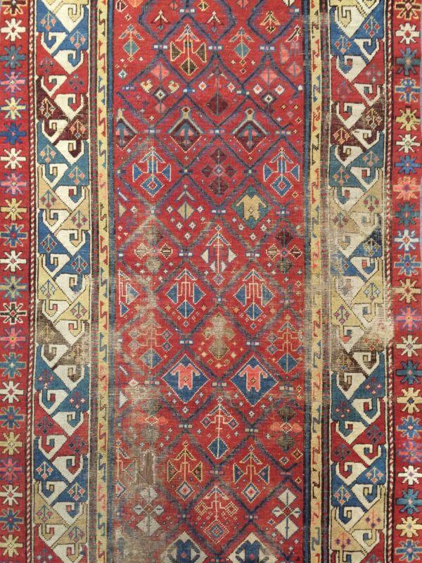 Special Shirvan - 1890s Antique Caucasian Rug - Oriental Tribal Carpet 3.4 X 7.6