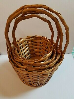 Four Wicker Baskets - Baskets With Handles Set Of Four Nesting Wicker Brown