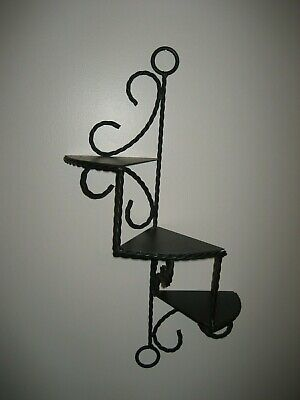 Twisted Iron & Metal 3 Shelf Wall Hanging Shelf Ornate Vintage Black Iron Shelf for sale  Shipping to India