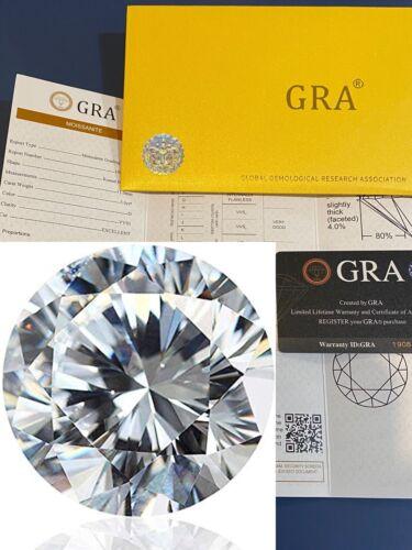 Loose Moissanite Real Gem Stone W. GRA Certificate 3-12mm 0.1-6ct VVS1 D Diamond