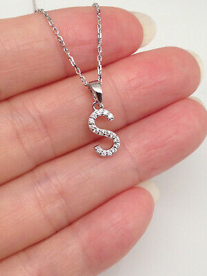 Sterling Silver 925 Cz Initial Letter S Pendant Necklace Womens 9mm Sterling Silver Initial Necklace