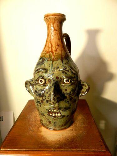 tim whitten face jug , potterty, folk art 10
