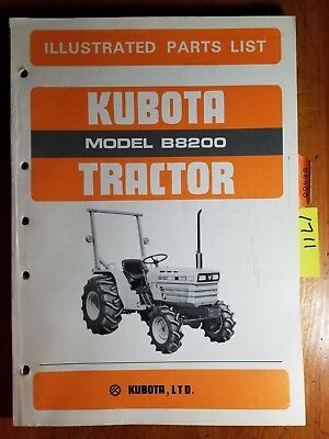 Kubota B8200 Tractor Illustrated Parts List Manual 07909-58401 1084