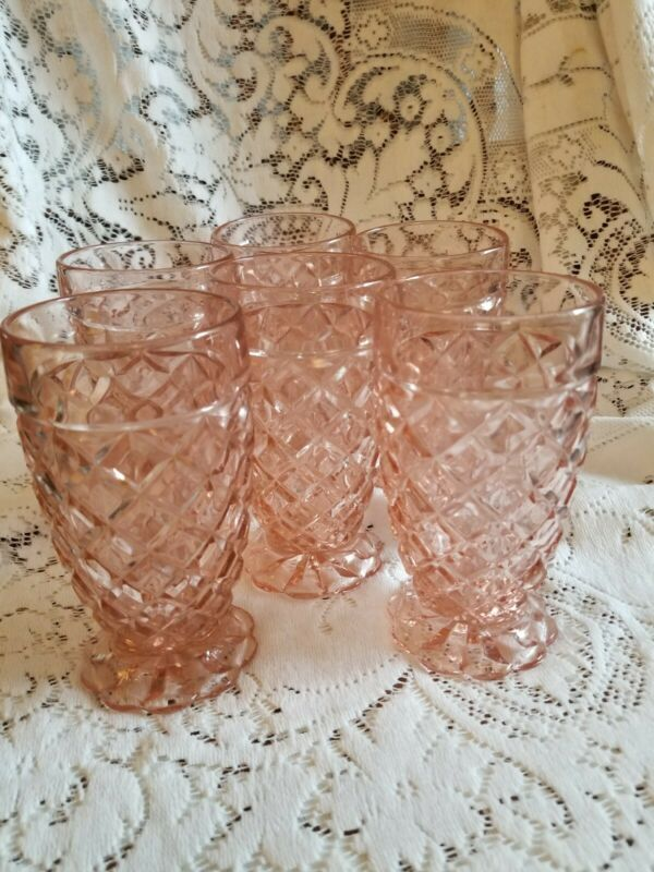 6 Anchor Hocking Depression PINK Glass WATERFORD WAFFLE Tumblers ~ 1938- 1944
