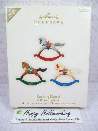 Hallmark 2007 Rocking Horse Limited Quantity Miniature Ornament Set 10 Years