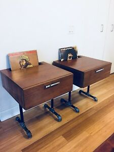 VINTAGE INDUSTRIAL NIGHT / SIDE TABLES MID CENTURY MODERN STYLE