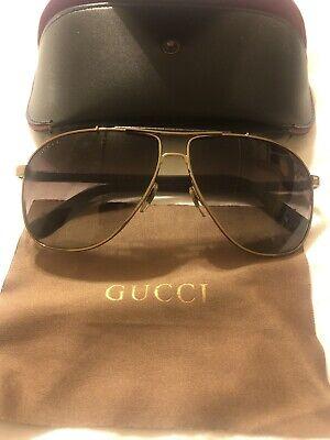 gucci aviator sunglasses gold leather trim