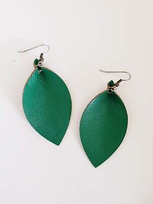 - Classic Green Leather Leaf Earrings / Joanna Gaines Zia / Boho / Medium