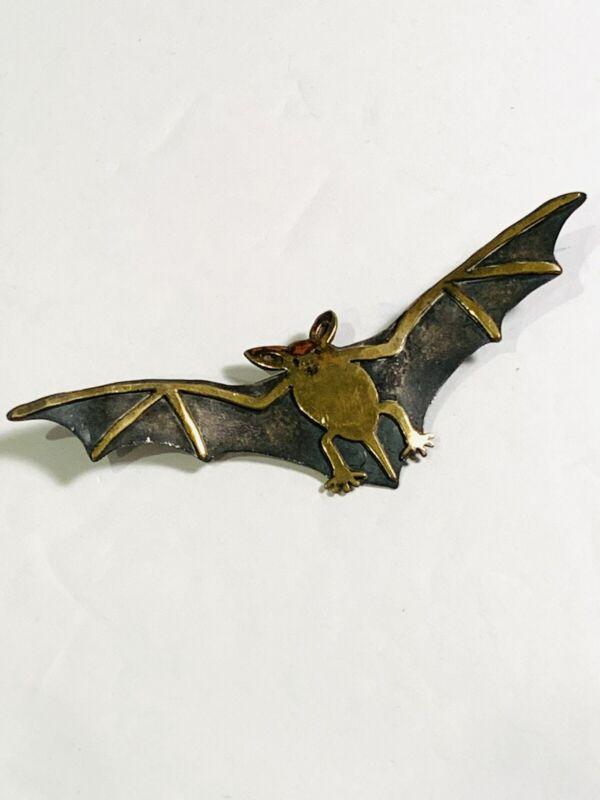 Vintage Signed Wild Bryde Sterling Silver Brass Halloween Bat Brooch Pin