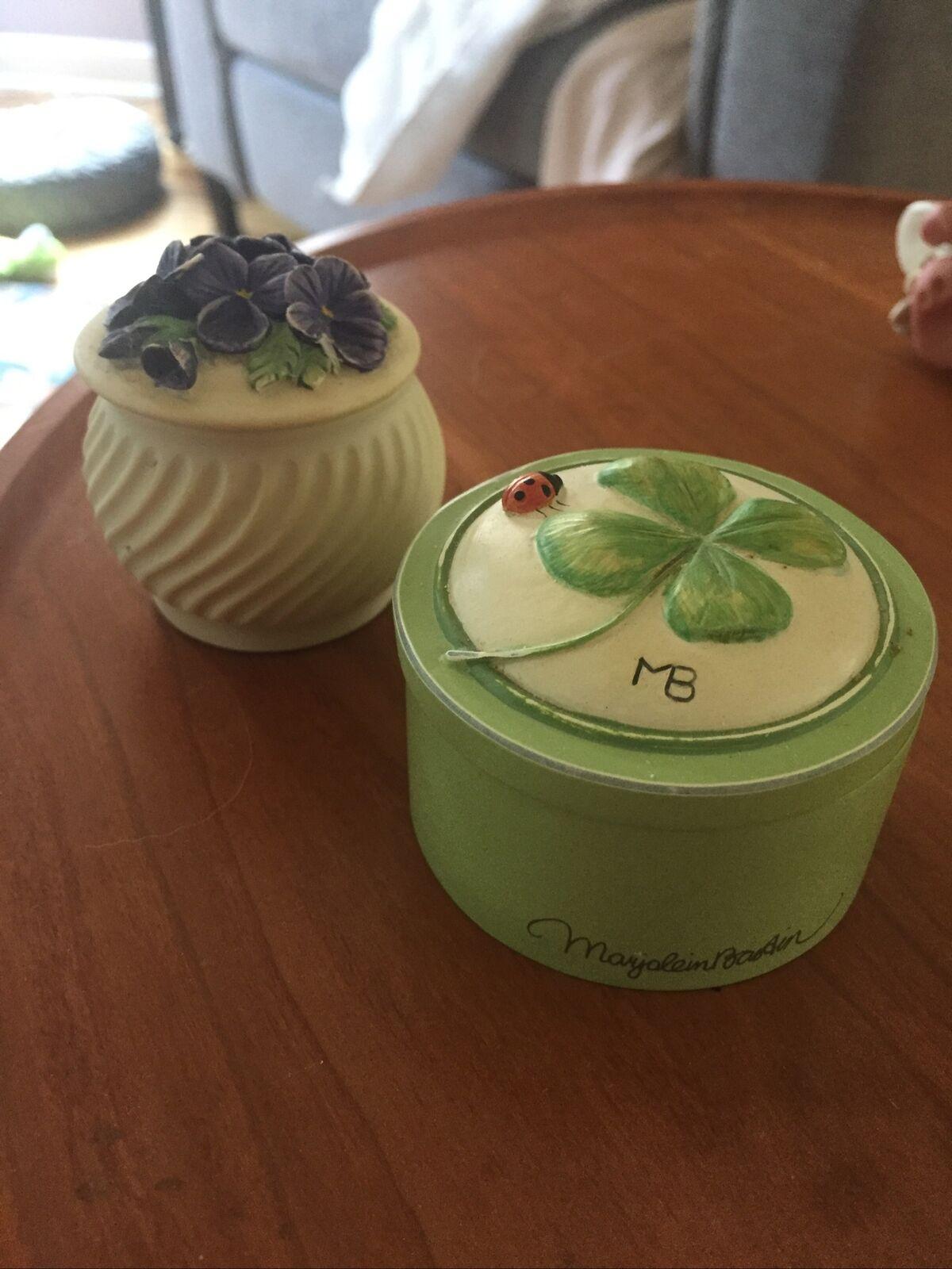 Marjolein Bastin Trinket Box Four Leaf Clover Ladybug  Forget Me Not Covered