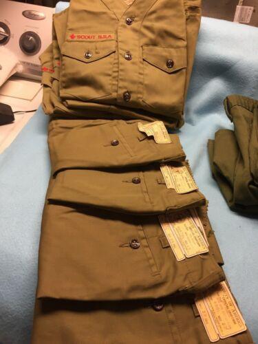 (mb) Large vintage SCOUT  BSA uniform shirts and pants lot  ! see description !