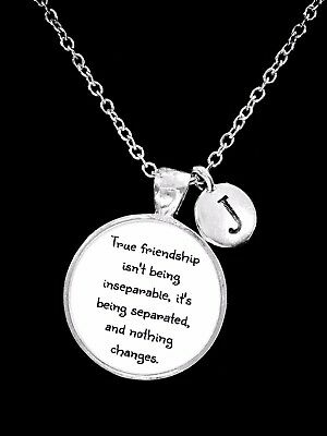 Best Friend Necklace True Friendship Long Distance Initial Sister Gift