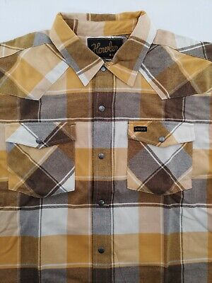 Howler Brothers Men's NWT Stockman Flannel L/S Western Plaid Snap Shirt - Medium