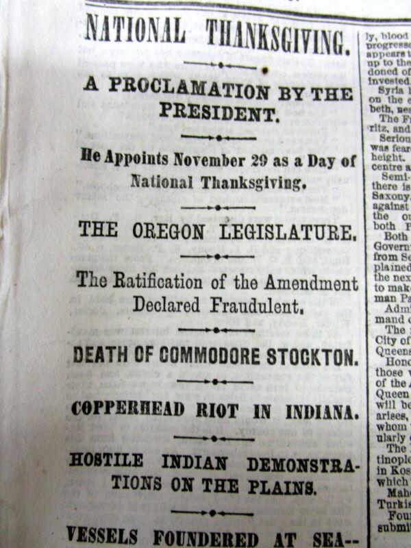 <Best 1866 newspaper PRESIDENT ANDREW JOHNSON THANKSGIVING DAY PROCLAMATION
