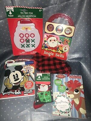 Stocking Stuffers Kids Lot Mickey Sound Book Christmas Stickers Rudolph Game NEW - Stocking Stuffers Kids