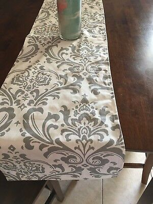 White  and Grey Damask Table Runner Home Decor, Parties, Showers   - Grey Table Runner