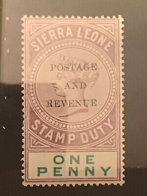 Sierra Leone stamp QV 1897 fiscal for postage 1d dull purple MH creased