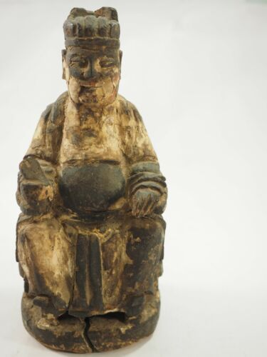 Chinese Polychrome Wood Carved Seated Emperor Ming Dynasty 1600-1700