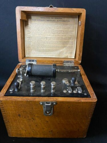ORIGINAL ANTIQUE APOLLO MEDICAL APPARATUS FOR TREATMENT BOX SHOCK BOX Ca.1890