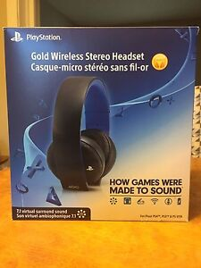 PS4 gold wireless stereo headset.