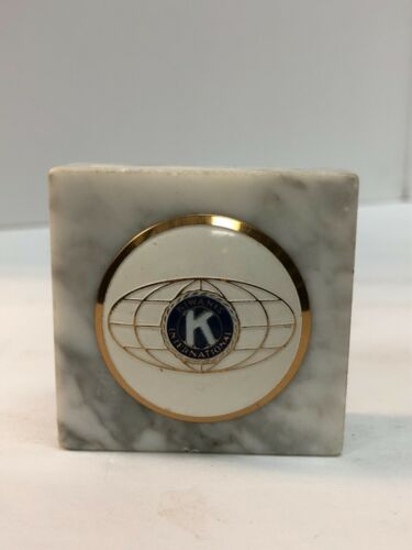 """Vintage Kiwanis International Paperweight, Marble with Gold Inlay, 2"""" Square"""