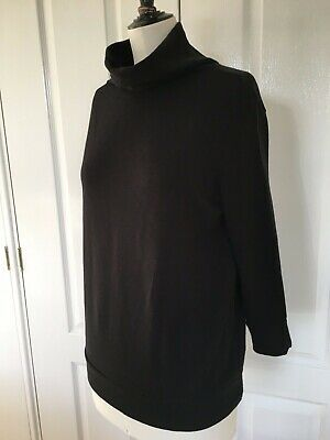 JAMES PERSE Roll Polo Neck Cotton Jersey Top Black Size 2 Medium UK 10 FR 38
