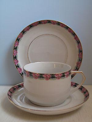 Antike Tasse mit Untertasse Rosen romantisch Jugendstil Porzellan Shabby