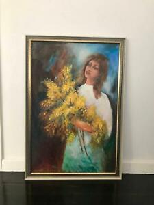 "Vintage framed canvas painting ""Golden Wattles"" (1980)"