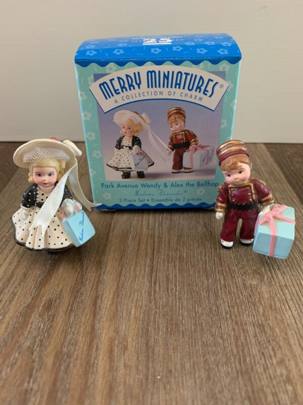 Hallmark Merry Miniatures Park Avenue Wendy & Alex Bellhop Madame Alexander Set