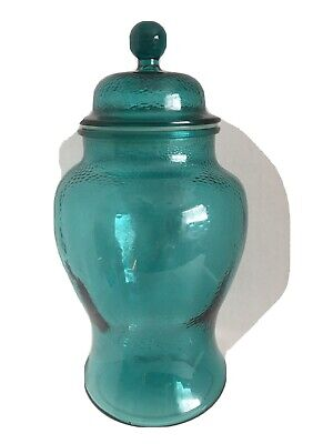 "Vintage Blue Green Glass Cookie/Biscuit Jar 12"" Tall Rare"