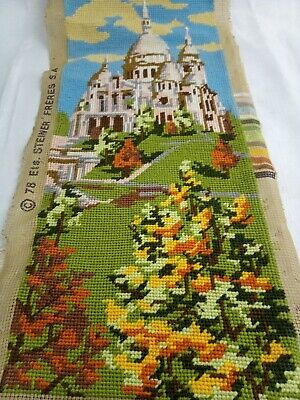 Historic Architecture Vintage Tapestry Hand Stitched 46cm X 19cm Wools on Canvas