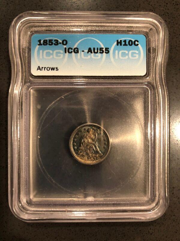 1853-O Seated Liberty Half Dime ICG AU55 - Arrows and Toned