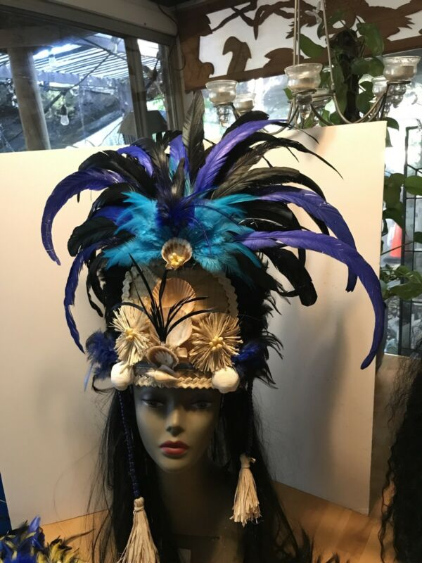 Handmade Feathered Tahitian Headpiece. Each Is One Of A Kind. Leather Headband