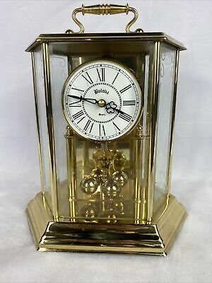 Bulova Anniversary Mantel Clock Hexagon Carriage Style Brass Working Vintage