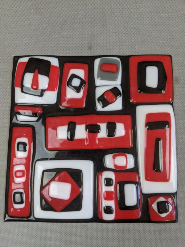 """Abstract Art Glass Tile Red White Black Cubist Geometric Calder Style 8x8"""""""