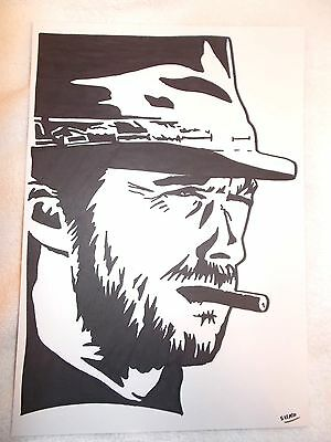A4 Black Ink Marker Pen Sketch Actor Clint Eastwood as Cowboy Man With No Name