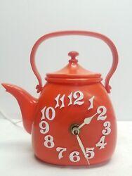 Retro Working Spartus Orange Tea Kettle Pot Mid-Century Clock Retro Vintage USA