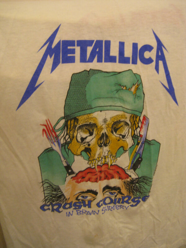 Vintage T-shirt/Very Rare-Metallica /Crash Course in Brain Surgery/ Pushead 1987