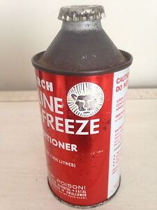 Vintage cone top Monarch Lion tin can, motor oil gas pump sign