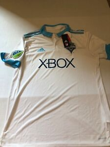 New Mls Seattle Sounders Adidas 2017 White And Powder Blue Jersey Large*