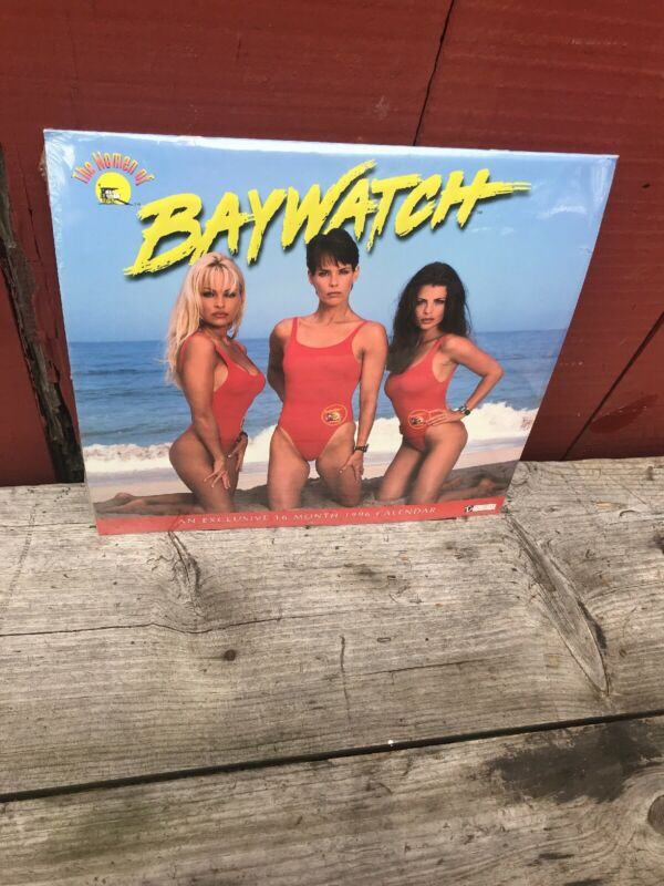 1996 Women of Baywatch Calendar Sealed Pamela Anderson Yasmine Bleeth Vtg Rare