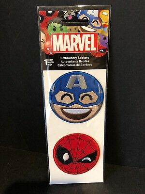 Embroidered 3 D Stickers - Marvel Comics Emoji Embroidered 3d Stickers Captain America Spiderman NEW