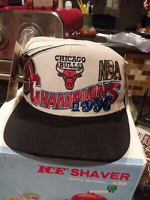 Vintage Chicago Bulls 1996 and 1997 Championship Snapback Hats Logo Athletic