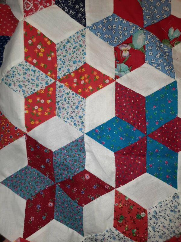 Vintage Quilted Squares Stars Pieces HAND Sewn