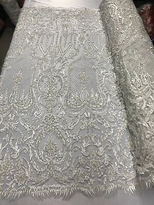 Beaded Fabric Ivory Embroidery Beads Fabric Lace Wedding Dress 50