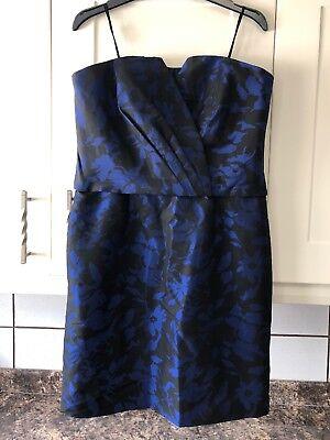 Smart Size 14 Black/Blue Knee Length Lined Dress From JS Boutique