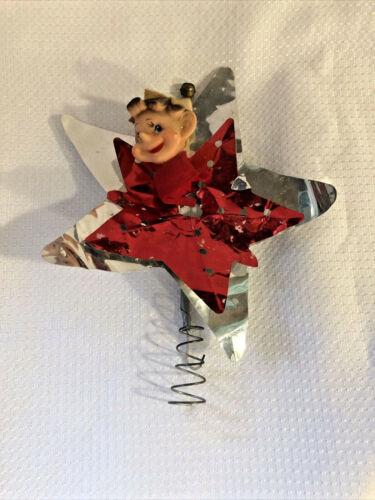 Vintage Christmas Pixie Elf Christmas Star Tree Topper Aluminum Star