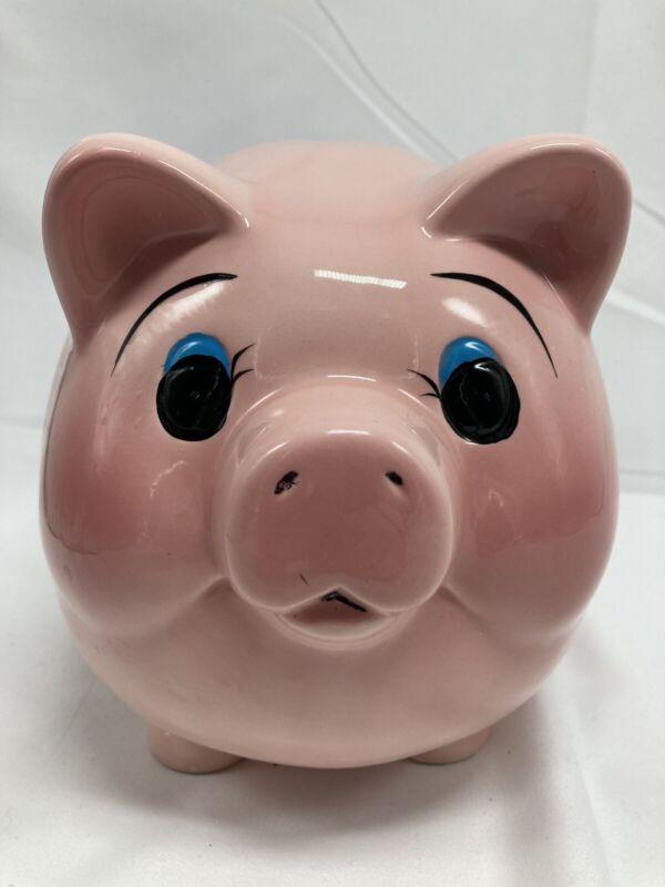 Vintage Ceramic Pink Piggy Bank-As Is