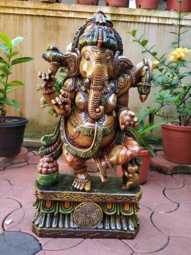 Ganesha Hand Carved Sculpture Hindu God Dancing Ganesh Statue Figurine Murti Art
